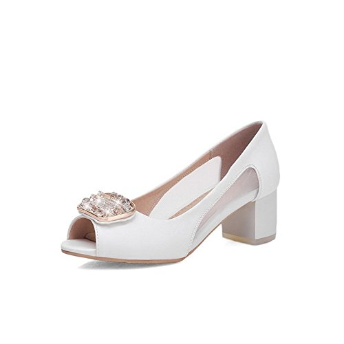 BalaMasa Womens European Style Zircon Square Buckle Soft Material Sandals White ec7SwY2p