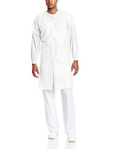 - ValuMax 3660WHL-K Knit Collar, Extra-Safe, Wrinkle-Free, Noble Looking Disposable SMS Knee Length Lab Coat, White, L, Pack of 10