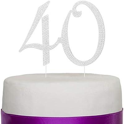 Número 40 Decoración para torta Topper Plata 40 años Fiesta de Cumpleaños o de Aniversario Diamantes de imitación Pedrería