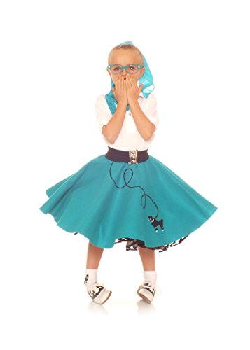 Swing Jive Costumes (Hip Hop 50s shop 3 Piece Child Poodle Skirt Outfit, Size 12 Teal)