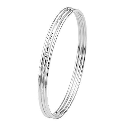 Merdia 925 Sterling Silver Bangle Bracelet Set Three Stackable Bangles for Women/Girls-Inner Size -