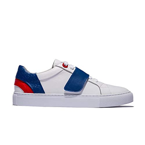 OPP Men's Casual Leather Sneaker Energy Velcro Hook and Loop Shoes Blue