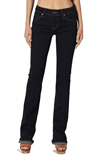 TheMogan Women's Mid Rise Slim Fit Bootcut Jeans with Soft Denim Dark 13