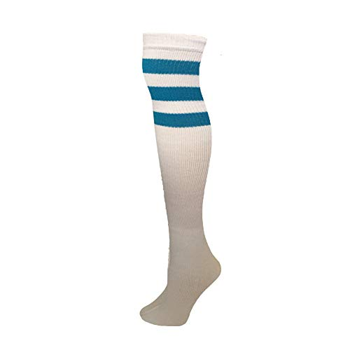 AJs Classic Triple Stripes Retro Over The Knee High Tube Socks - White, Turquoise, Sock size 11-13, Shoe Size 5 and up -