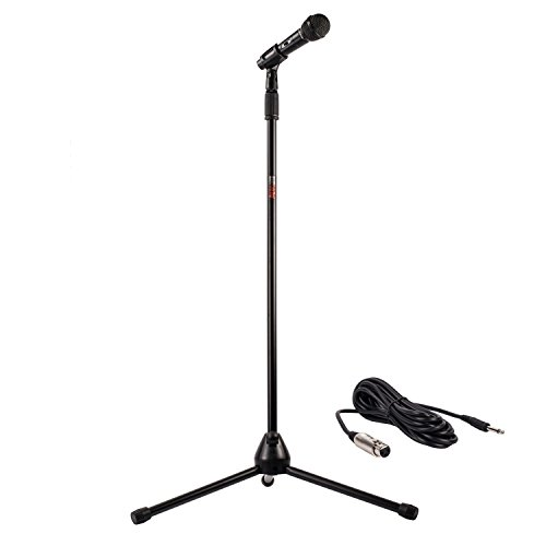 Nady MSC-3 Center Stage Microphone with sturdy metal adjustable tripod microphone stand with clip, and 20 ft. cable – Perfect for live performance, recording, karaoke, rehearsal spaces, public address - On/Off Switch - Frustration Free Packaging - 20 Space Equipment