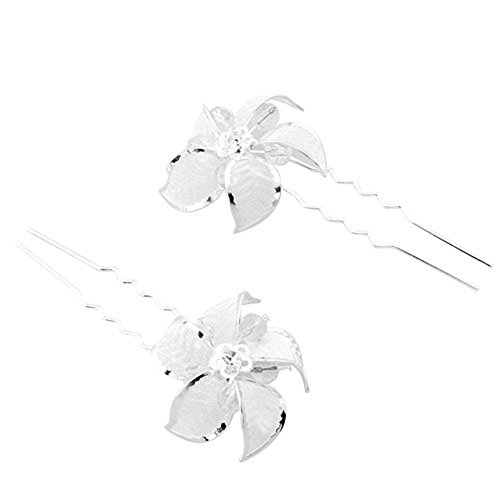 Skyllc® Brillant clip White Pearl Fleur strass Crystal Bridal Tiara Pin cheveux