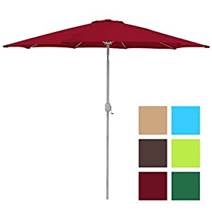 Best Choice Products Patio Umbrella 9ft Aluminum Outdoor Patio Market Umbrella w/ Crank Tilt - Red