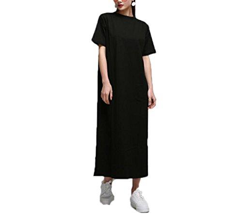 Thyra Landon Summer Side High Slit Long T shirt Women Sex Dress Short Sleeves Black New NEW Fashion - Jersey Village New Outlet