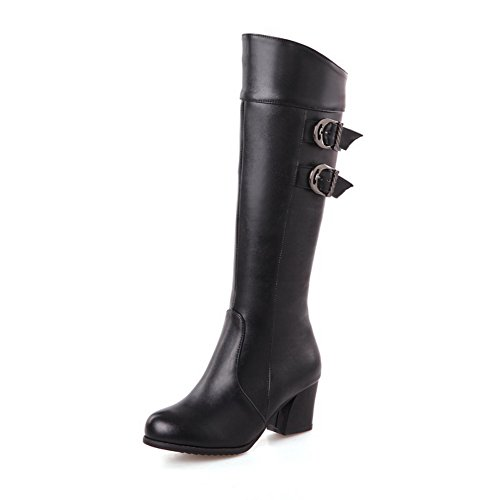 1TO9 Ladies Buckle Kitten-Heels Formal Imitated Leather Boots Black X3R1Ge