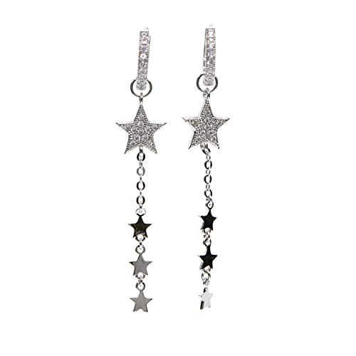 shion jewelry rose gold color fashion dangle earring star,Platinum Plated ()