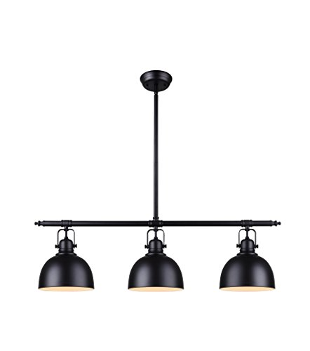 - Canarm Luztar Polo 3 Light Pendant in Black Finish with Painted White Interior