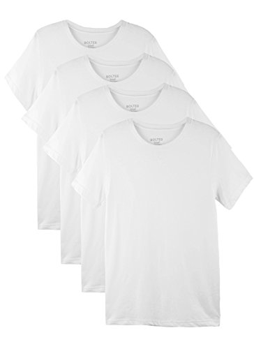 Bolter 4 Pack Men's Everyday Cotton Blend Short Sleeve T-Shirts (X-Large, 4PK White)