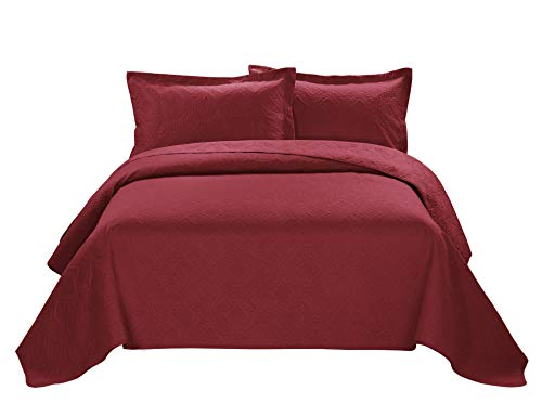 3 Piece ESTANCIA Ultrasonic Embossed Bedspread Set-Oversized Coverlet 100x106in, 118x106in (Queen, Burgundy) (Queen Bedspread Red)