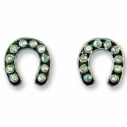 - Horseshoe With Crystals Sterling Silver and Enamel Earrings