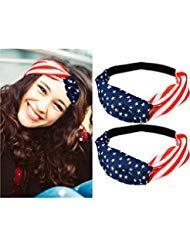 TecUnite 4 Pieces American Flag Headband 4th of July USA Independence Day Headbands Patriotic Headwrap Elastic Hair Bands Bandana Turban Hair Accessories
