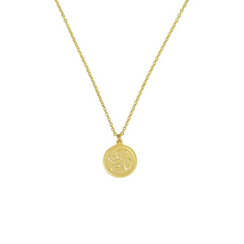 AUSIKA Dainty Medallion Cherub Pendant Necklace for Women 18k Gold Plated Chain Handmade Jewelry 18''