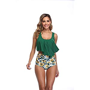 MARINAVIDA Swimsuit for Women Two Piece Bathing Suit Top Ruffled Racerback High Waisted Tankini