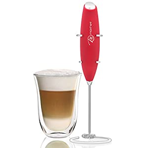 Handheld Milk Frother With Stand - Strong & Powerful - Whip Foam, Maker Cappuccino, latte, Smoothie (Red)