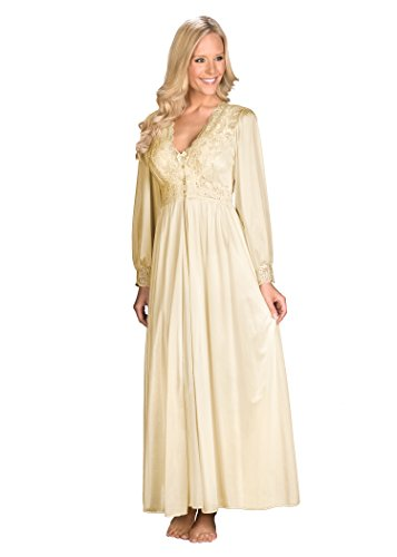 Peignoir Robe Nightgown - Shadowline Women's Plus-Size Silhouette 54 Inch Long Sleeve Coat, Ivory, 3X
