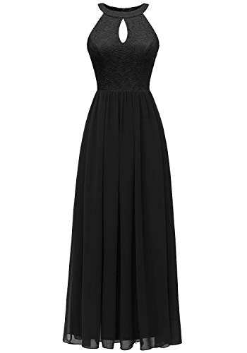 Dressystar 0048 Halter Long Formal Maxi Party Dress Evening Prom Dress M Black