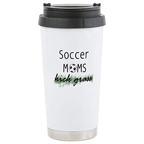 CafePress Soccer Moms Kick Grass Stainless Steel Travel Mug Stainless Steel Travel Mug, Insulated 16 oz. Coffee Tumbler ()