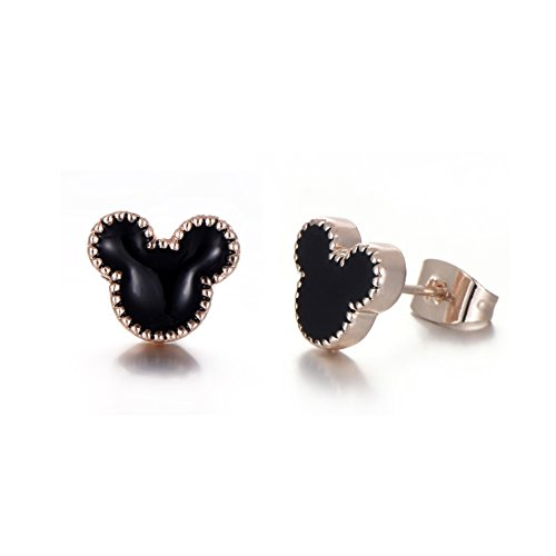Rose Gold Plated Stainless Steel Mixed Color Cute Pineapple Mouse Love Parrot Ladybug Stud Earrings Set by HYZ (Image #8)