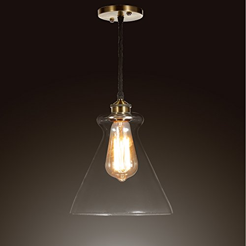SwanHouse Clear Glass Vintage Pendant Lamp PPP 13x12x11