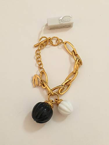 Just Cavalli Black and White Acorn Gold Plated 8