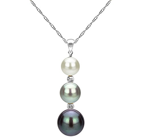 14k White Gold Drop Pendant - 14k White Gold Graduated 5-9.5mm Multi-colors Freshwater Cultured Pearl Pendant Necklace, 18
