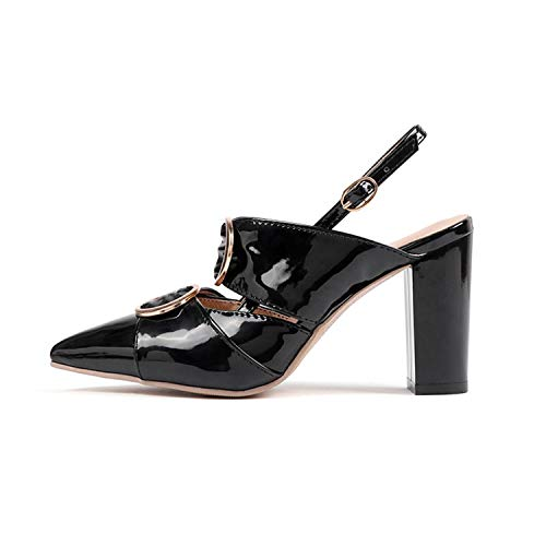 HCHBE& 2019 Spring Women Pumps Square high Heel Sandals Buckle Strap Wedding Shoes Patent Leather Slingbacks Ladies Heels Black 14