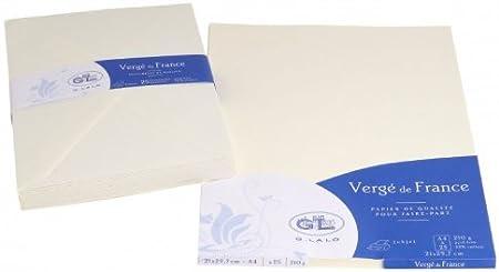 G Lalo Papier Karton 50/Blatt A4/rain/é//gerippt 210/g 29,8/x 21/x 2 29,80 x 21 x 2 cremefarben