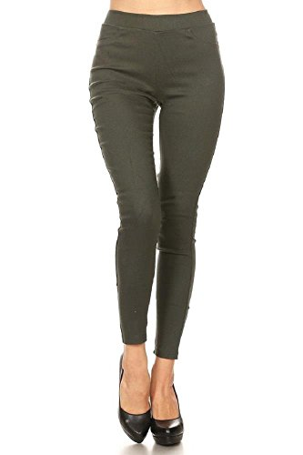 Women's Cotton Blend Super Stretchy Skinny Solid Jeggings Olive XX-Large