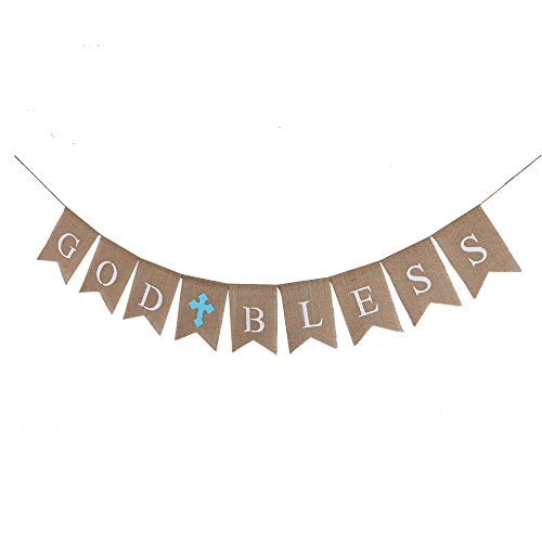 YUINYO GOD BLESS Baptism Banner,No DIY Required Natural Burlap with Silk Bow for Baptism Communion Party Christening Wedding Baby Shower Christmas Decorations Party Supplies, First Communion (Blue) -