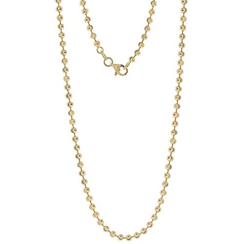 Harlembling 14k Gold Over Solid 925 Sterling Silver Moon Cut Ball Bead Chain - 2.5mm - 18-30