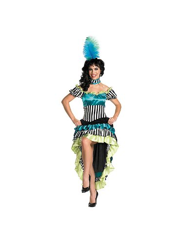 Disguise Women's Can-Can Cutie Costume, Black/White/Blue/Green, Large (Can Disguise compare prices)