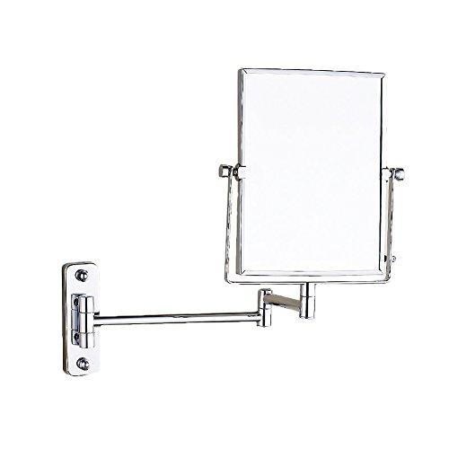 rror, Wall mirror Wall mounted Two-sided swivel Vanity mirror Push-pull enlarge hanging mirror Folding mirror Bathroom makeup mirror-silvery (Shaving Mirror Pull)