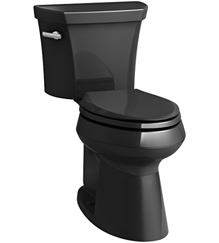 KOHLER K-76301-7 Highline Concealed Trapway Comfort Height Two-Piece Elongated 1.28 GPF Toilet with Class Five Flush Technology and Left-Hand Trip Lever, Black