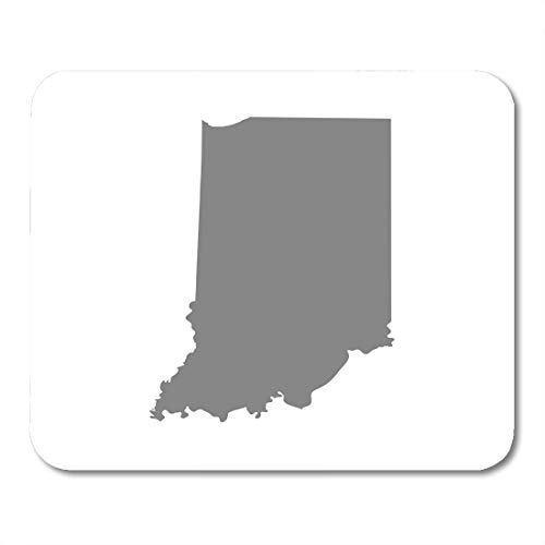 Emvency Mouse Pads Gray Outline Map of The U State Indiana United Abstract America Area Mouse pad 9.5