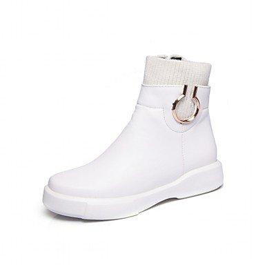 Heart&M Damen Schuhe Kunstleder Frühling Winter Komfort Neuheit Stiefeletten Stiefel Flacher Absatz Runde Zehe Booties / Stiefeletten white