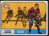 1968 Topps # 63 Jacques Lemaire Montreal Canadiens (Hockey Card) Dean's Cards 5 - EX - Card Hockey Canadiens