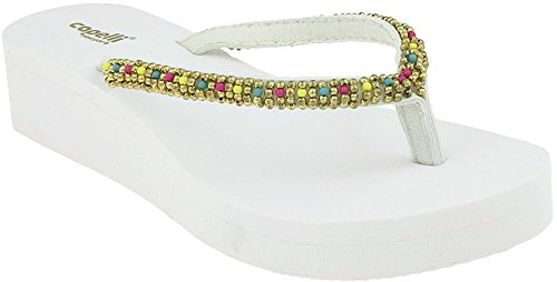Capelli New York Damesmode Slippers Met Lucite Parelsnoer Witte Combo