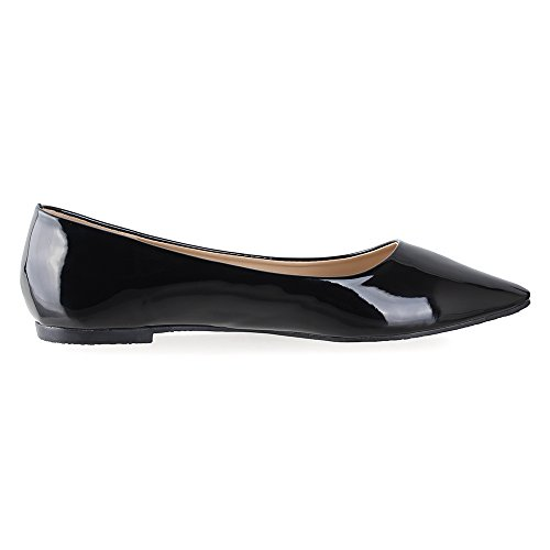 Bella Marie BellaMarie Angie-28 Damen Klassische Zehenspitzen Ballett Flache Schuhe Patent schwarz