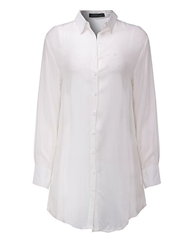 Casual Shirt Blanc Women Collar Style Tops Dress Down T Long Blouse Zanzea Button Boyfriend Tq8pwwa