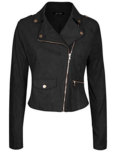 Michel Women's Slim Fit Rider Jackets Retro Lapel Zipper Bike Jacket Black ()