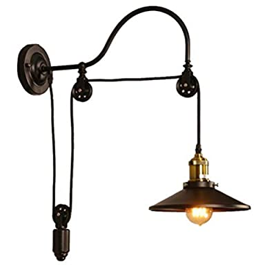 Mengzhu-Michelle Wall Sconce Industrial Retro Iron Pulley Retractable Wall Light Lamp Fixture Wash Lamp For Hallway Corridor Restaurant E27 Black