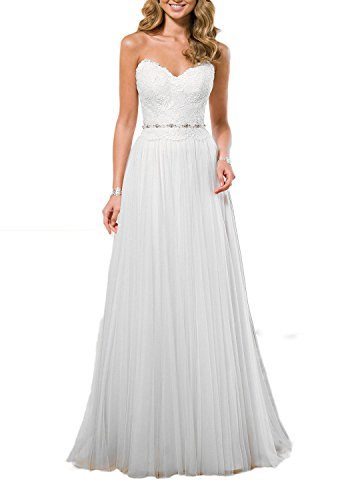Anlin Sweetheart Lace Bodice Tulle Wedding Dress Beach Bridal Gown White US16