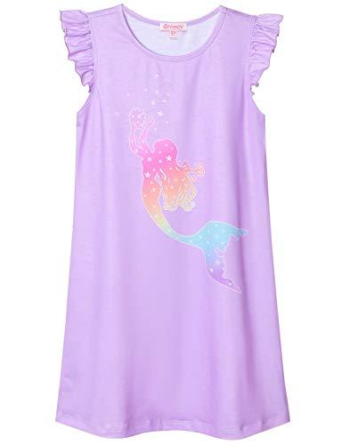 Big Girls Princess Nightgowns Rainbow Mermaid Nightdress Cotton Pajamas for Kids -