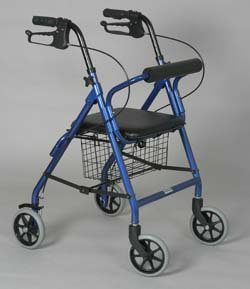 Rollator - Burgundy Junior. For a person 4' 9'' to 5' 2''. Lightweight aluminum frame. Soft padded seat. Handles are adjustable for different heights. Removable basket fits under the seat. Locking hand brakes. 6'' front and rear tires. Push button removable  by King Products