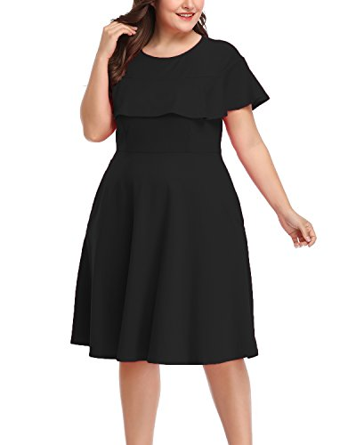 Women's Plus Size Crew Neck Illusion Ruffle High Waist A-line Midi Cocktail Dress