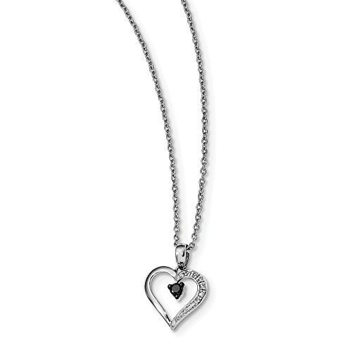 - 925 Sterling Silver Rhod Plated Black White Diamond Heart Pendant Chain Necklace Charm S/love Love Fine Jewelry Gifts For Women For Her